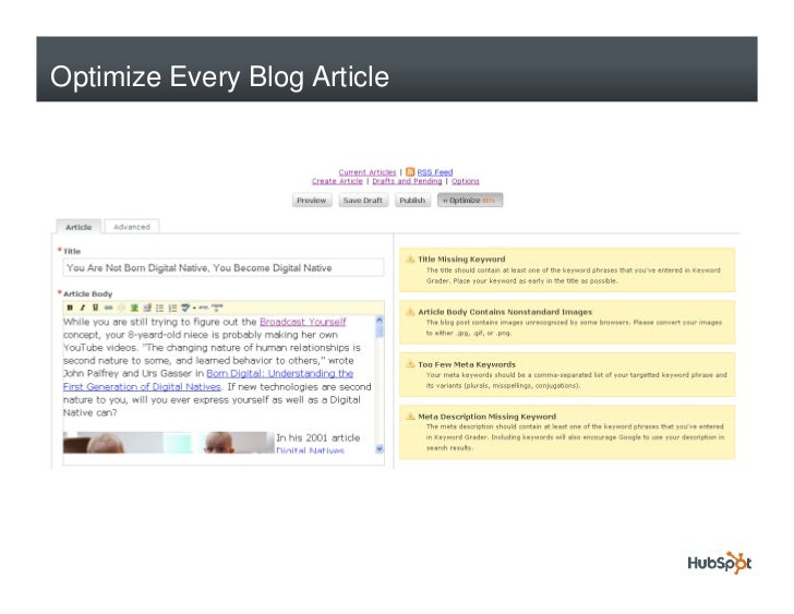 Optimize Every Blog Article