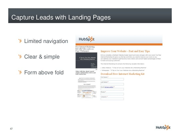 Capture Leads with Landing Pages        Limited navigation                  g       Clear & simple       Form above fold  ...
