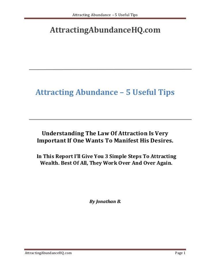 Attracting Abundance – 5 Useful Tips             AttractingAbundanceHQ.com     Attracting Abundance – 5 Useful Tips       ...