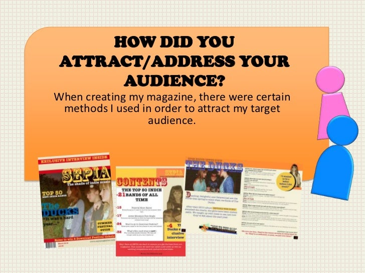 HOW DID YOU ATTRACT/ADDRESS YOUR       AUDIENCE?When creating my magazine, there were certain methods I used in order to a...