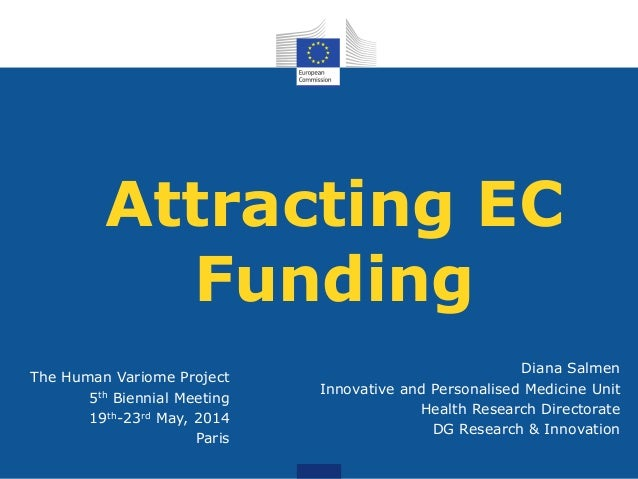 Attracting EC Funding The Human Variome Project 5th Biennial Meeting 19th-23rd May, 2014 Paris Diana Salmen Innovative and...