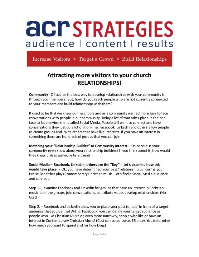 Attracting more visitors to your church - ACR straegies