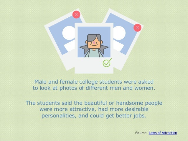 Male and female college students were asked to look at photos of different men and women. The students said the beautiful ...