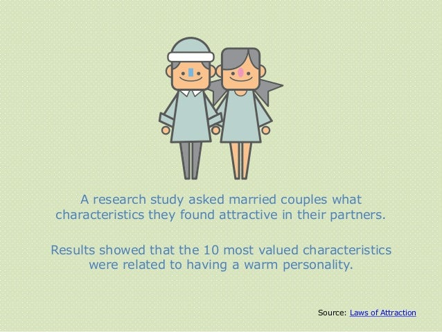 A research study asked married couples what characteristics they found attractive in their partners. Results showed that t...