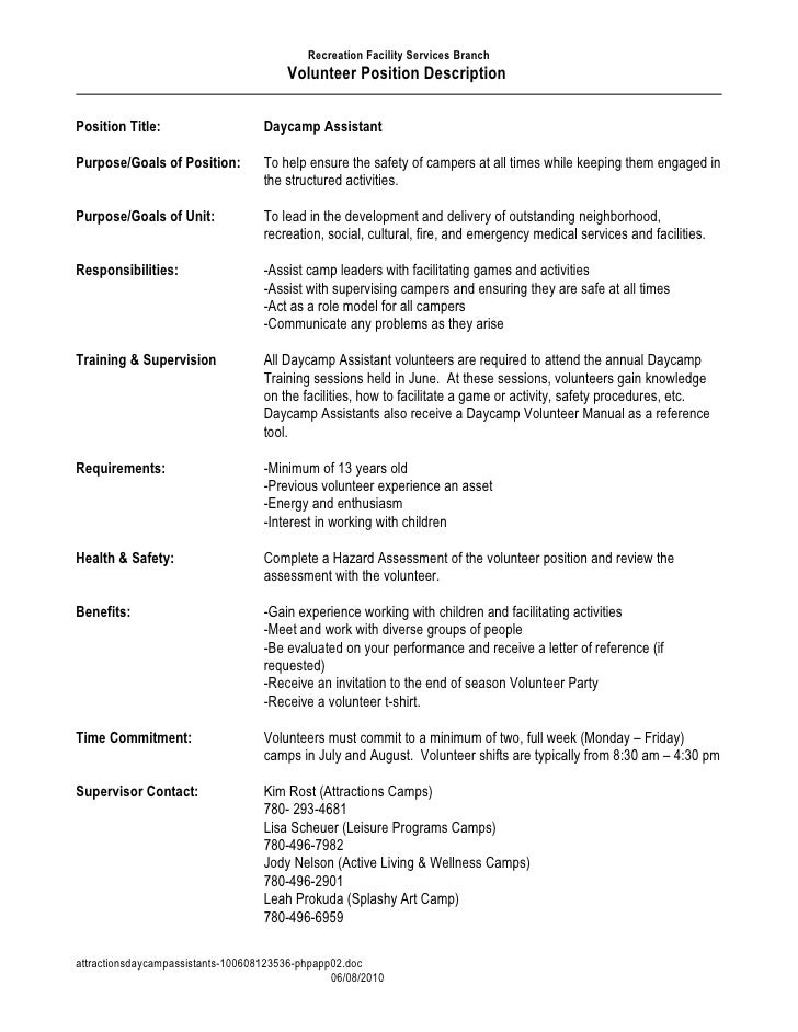 Recreation Facility Services Branch                                        Volunteer Position Description  Position Title:...