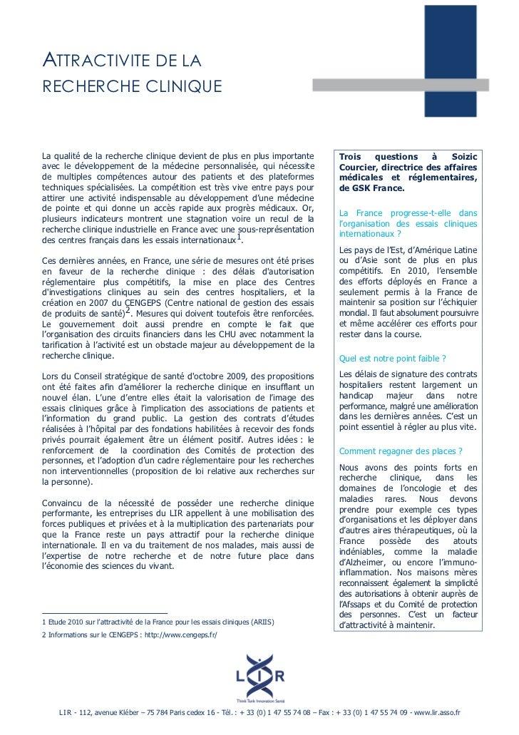 ATTRACTIVITE DE LARECHERCHE CLINIQUELa qualité de la recherche clinique devient de plus en plus importante                ...