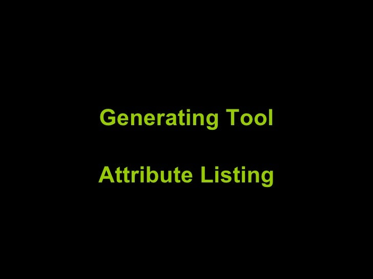 Generating Tool Attribute Listing