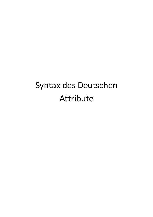 Syntax des DeutschenAttribute