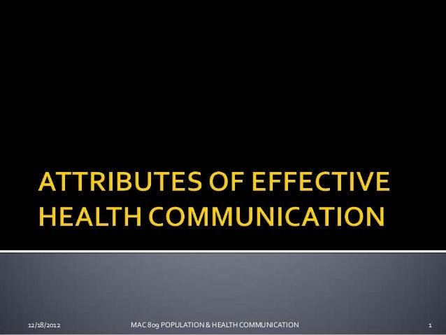 12/18/2012   MAC 809 POPULATION & HEALTH COMMUNICATION   1