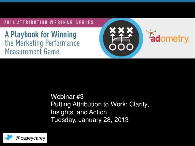 Webinar #3 Putting Attribution to Work: Clarity, Insights, and Action Tuesday, January 28, 2013 @caseycarey © 2014 Adometr...