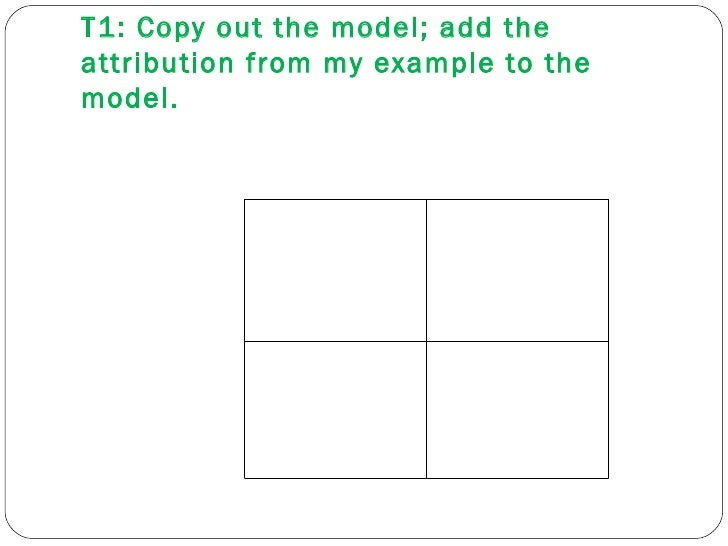 T1: Copy out the model; add the attribution from my example to the model.
