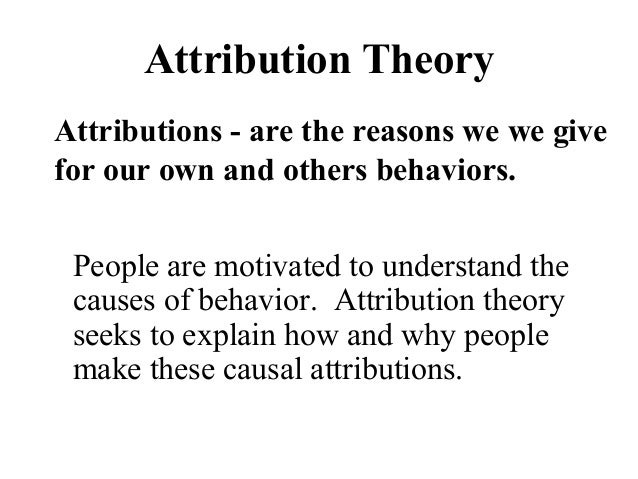 attribution theories Lesson 5: attribution theory, attitudes, perception and paradigms learn with flashcards, games, and more — for free.