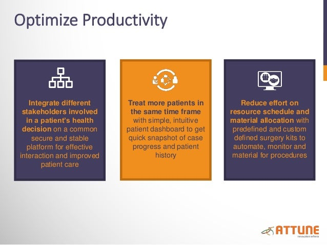 Optimize Productivity Integrate different stakeholders involved in a patient's health decision on a common secure and stab...