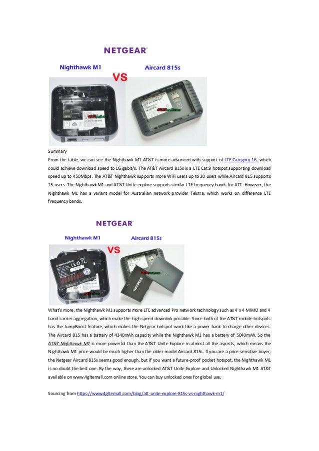 ATT unite explore (815s) vs att nighthawk m1