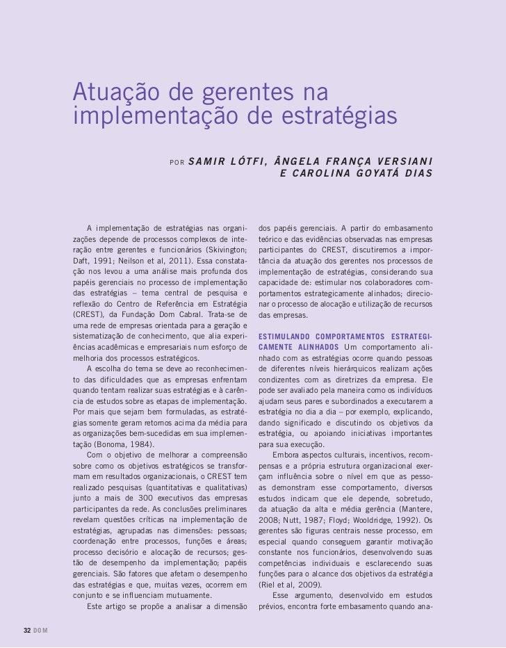 Atuação de gerentes na         implementação de estratégias                                    por   Samir Lótfi, Ângela F...