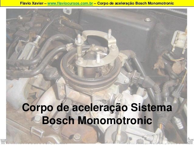 Flavio Xavier – www.flaviocursos.com.br – Corpo de aceleração Bosch Monomotronic Corpo de aceleração Sistema Bosch Monomot...