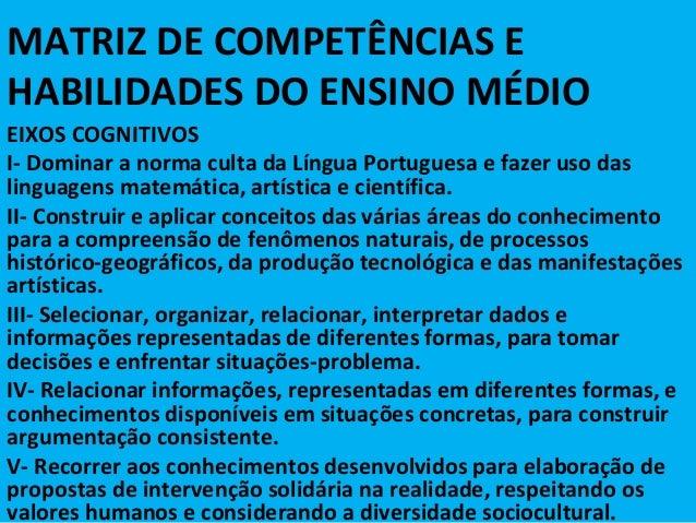 MATRIZ DE COMPETÊNCIAS EHABILIDADES DO ENSINO MÉDIOEIXOS COGNITIVOSI- Dominar a norma culta da Língua Portuguesa e fazer u...