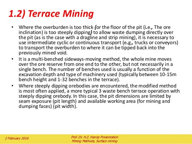 Topic 5 mining methods part i surface mining for What is the meaning of terrace