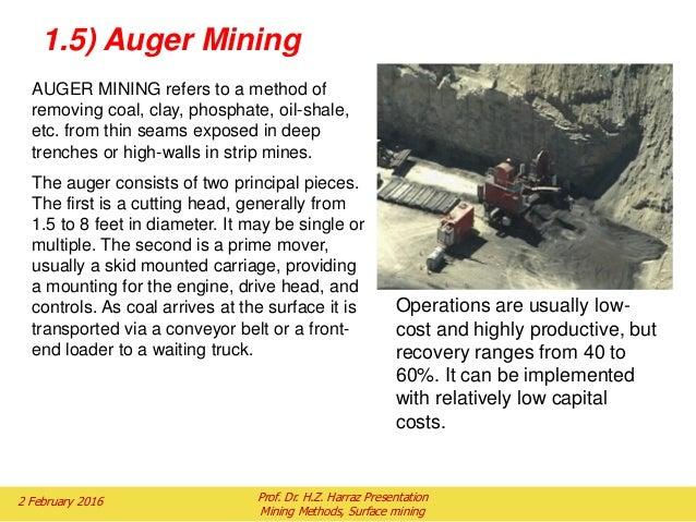 Auger mining processes