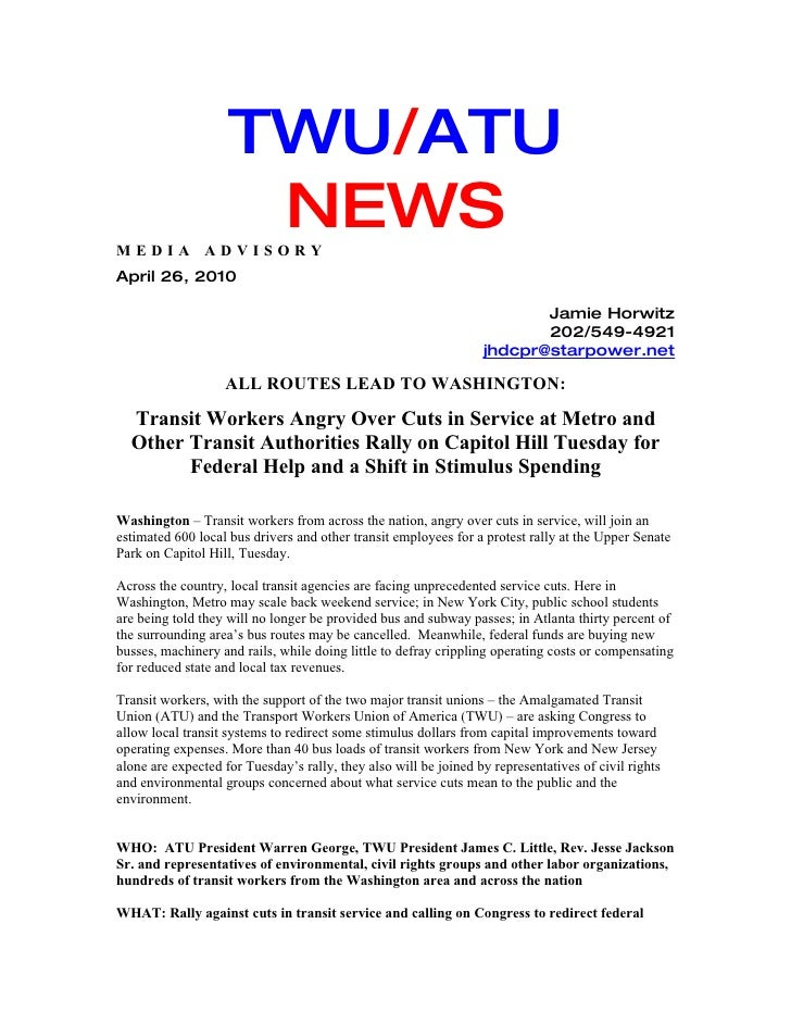TWU/ATU MEDIA ADVISORY                      NEWS April 26, 2010                                                           ...