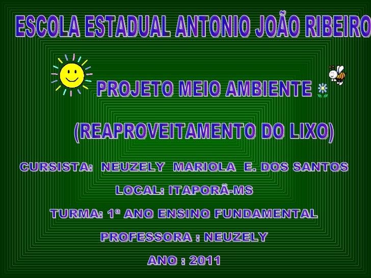 ESCOLA ESTADUAL ANTONIO JOÃO RIBEIRO PROJETO MEIO AMBIENTE (REAPROVEITAMENTO DO LIXO) CURSISTA:  NEUZELY  MARIOLA  E. DOS ...