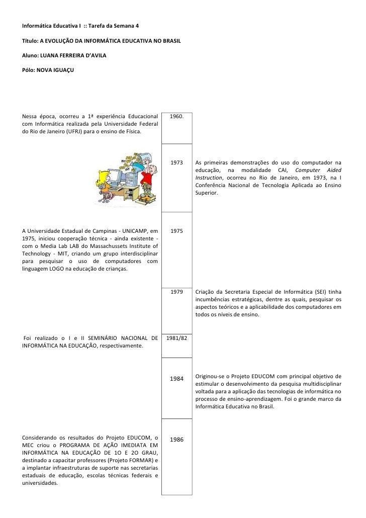 Informática Educativa I :: Tarefa da Semana 4Título: A EVOLUÇÃO DA INFORMÁTICA EDUCATIVA NO BRASILAluno: LUANA FERREIRA D'...