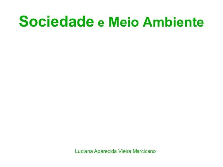 Sociedade e Meio Ambiente       Luciana Aparecida Vieira Marcicano