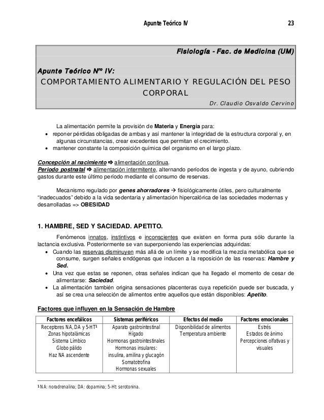 Apunte Teórico IV 23 Fisiología - Fac. de Medicina (UM) Apunte Teórico Nro IV: COMPORTAMIENTO ALIMENTARIO Y REGULACIÓN DEL...
