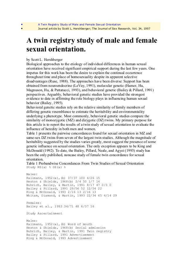 •           A Twin Registry Study of Male and Female Sexual Orientation•           Journal article by Scott L. Hershberger...