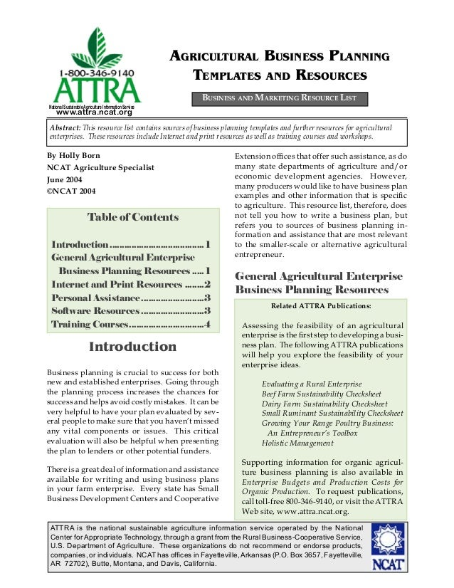 Agricultural Business Planning Templates And Resources - Agriculture business plan template