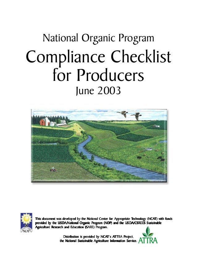 National Organic Program Compliance Checklist for Producers June 2003 Distribution is prDistribution is prDistribution is ...