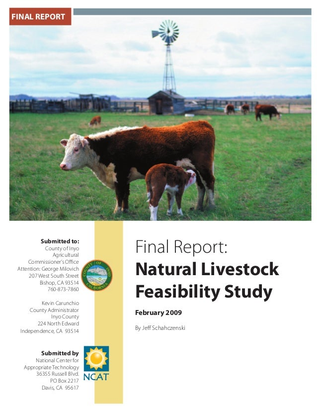 FINAL REPORT Final Report: Natural Livestock Feasibility Study February 2009 By Jeff Schahczenski Submitted to: County of I...