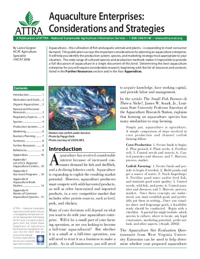 Introduction A quaculture has received considerable interest because of increased con- sumer demand for fish and shellfish, ...