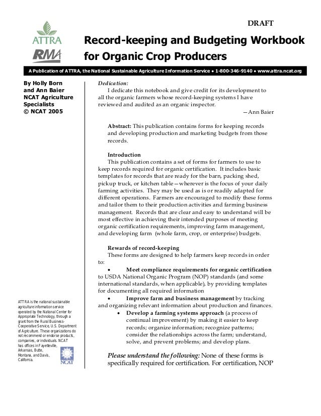 record keeping and budgeting workbook for organic crop producers