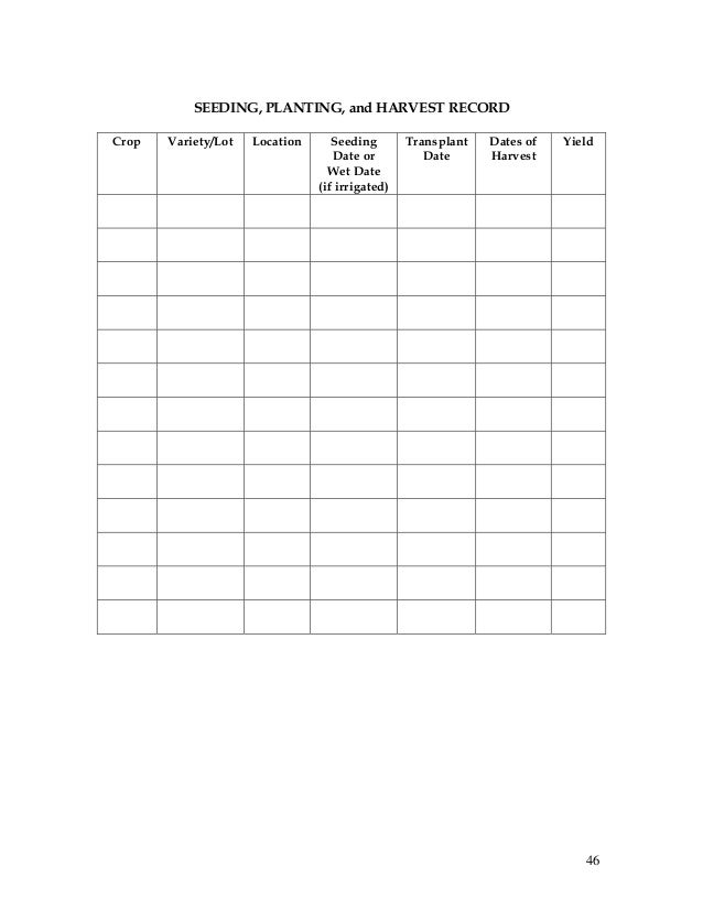 Record Keeping And Budgeting Workbook For Organic Crop