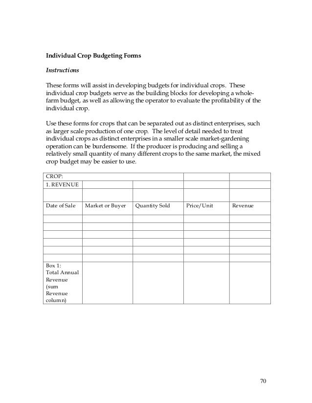 Record keeping and budgeting workbook for organic crop producers 70 70 individual crop budgeting pronofoot35fo Image collections