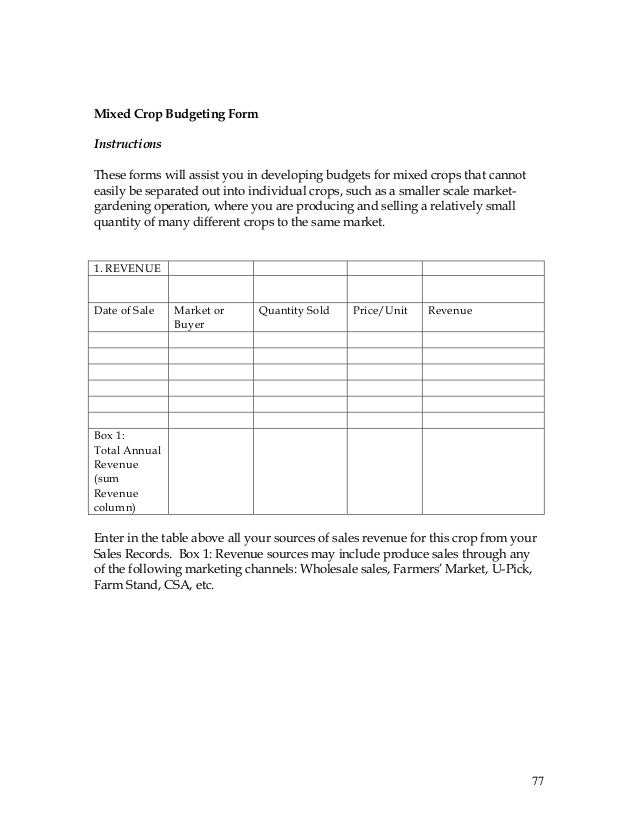Record-Keeping and Budgeting Workbook for Organic Crop Producers