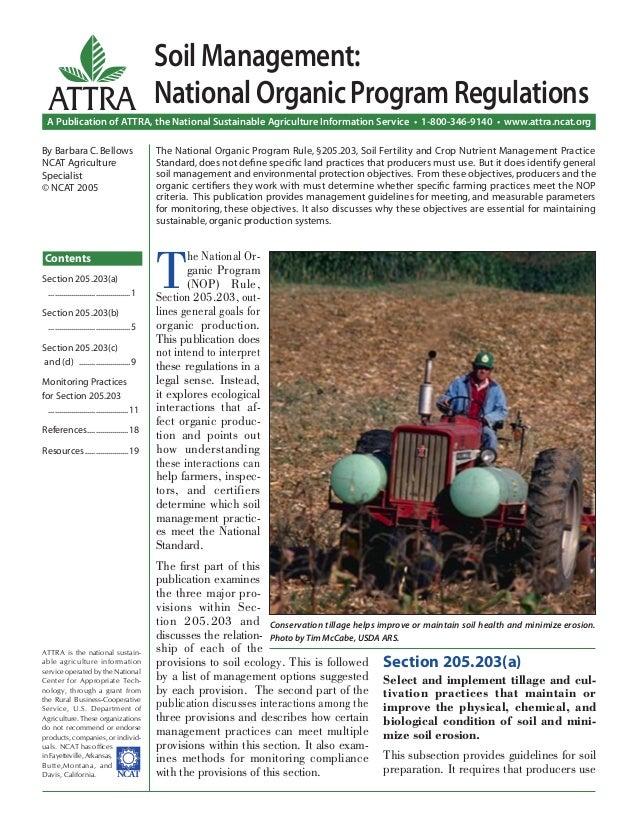 Soil management national organic program regulations for Soil management