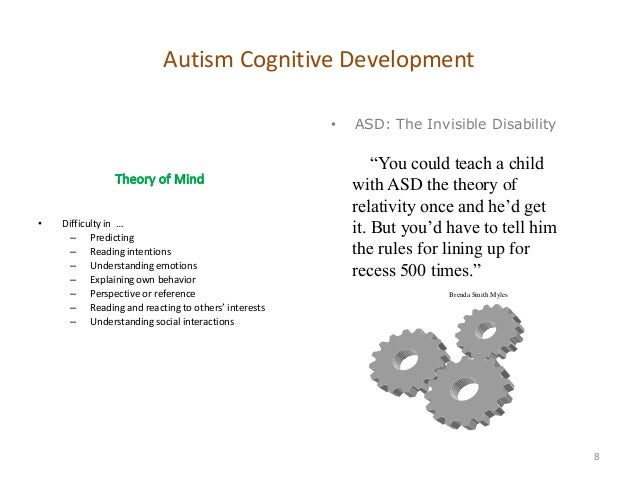 cognitive theories explaining autism spectrum disorder The variation of cognitive impairments in individuals with an autism spectrum  disorder (asd) presents a challenge for developing unifying theories of the core .
