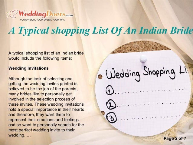 A Typical Shopping List Of An Indian Bride