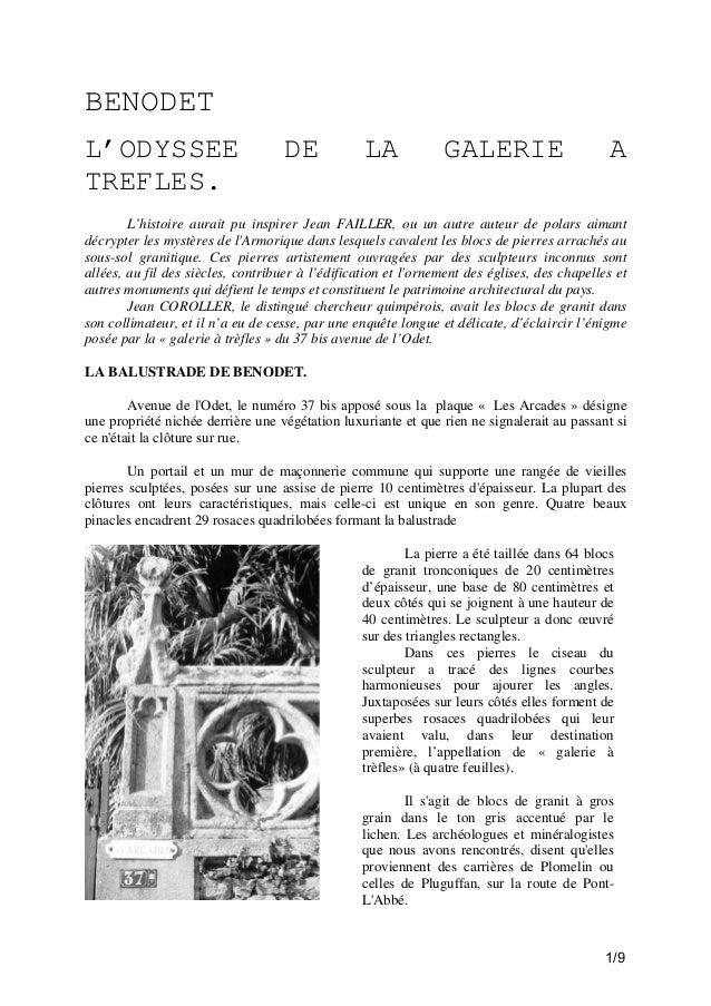 BENODET L'ODYSSEE TREFLES.  DE  LA  GALERIE  A  L'histoire aurait pu inspirer Jean FAILLER, ou un autre auteur de polars a...