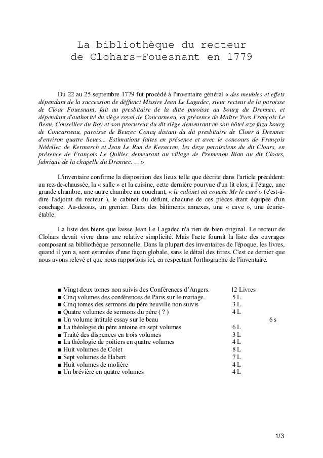 La bibliothèque du recteur de Clohars-Fouesnant en 1779  Du 22 au 25 septembre 1779 fut procédé à l'inventaire général « d...