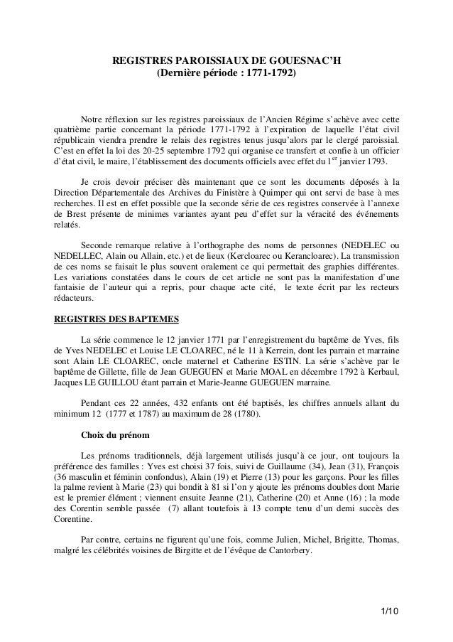 REGISTRES PAROISSIAUX DE GOUESNAC'H (Dernière période : 1771-1792)  Notre réflexion sur les registres paroissiaux de l'Anc...
