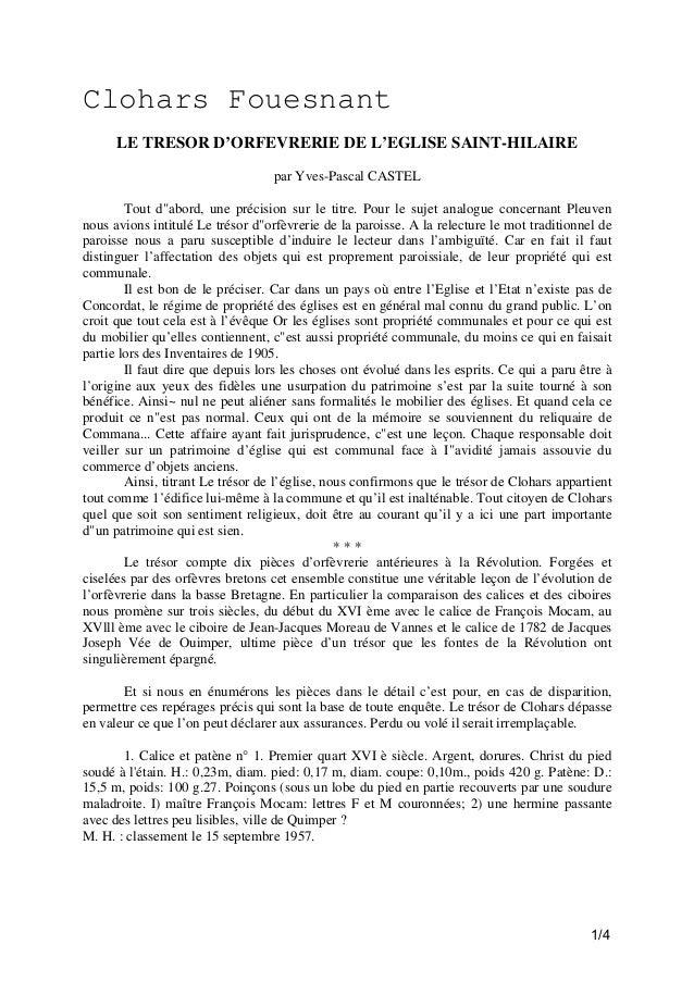 """Clohars Fouesnant LE TRESOR D'ORFEVRERIE DE L'EGLISE SAINT-HILAIRE par Yves-Pascal CASTEL Tout d""""abord, une précision sur ..."""
