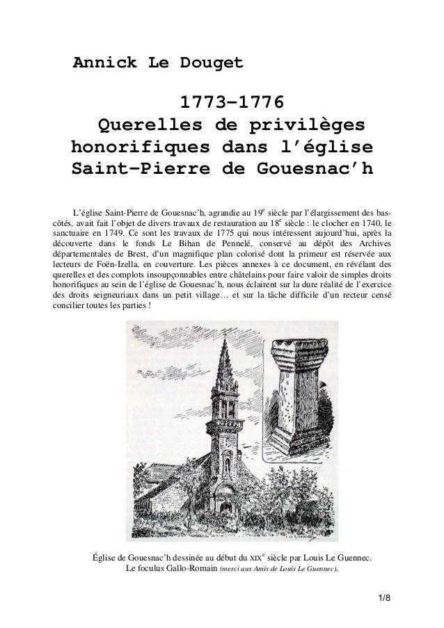 Annick Le Douget  1773-1776 Querelles de privilèges honorifiques dans l'église Saint-Pierre de Gouesnac'h L'église Saint-P...
