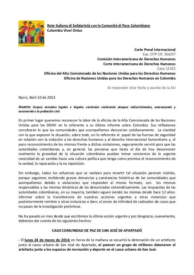Rete Italiana di Solidarietà con le Comunità di Pace Colombiane Colombia Vive! Onlus Corte Penal Internacional Exp. OTP-CR...