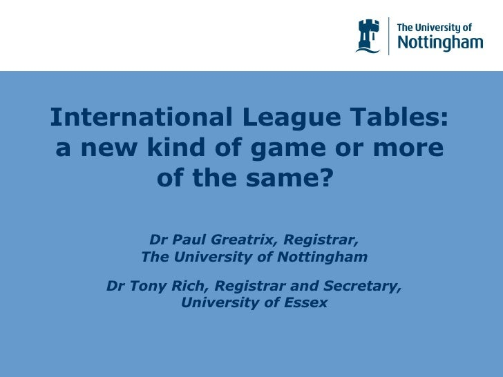 International League Tables: a new kind of game or more of the same?  Dr Paul Greatrix, Registrar, The University of Notti...