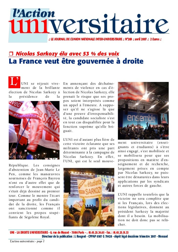 l'Actionuniversitaire                     .: LE JOURNAL DE L'UNION NATIONALE INTER-UNIVERSITAIRE .: N°269 .: avril 2007 .:...