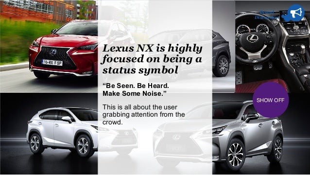 """Brand Discussion SHOW OFF Lexus NX is highly focused on being a status symbol """"Be Seen. Be Heard. Make Some Noise."""" This i..."""