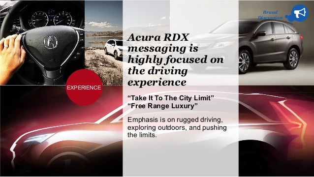 """Brand Discussion Acura RDX messaging is highly focused on the driving experience """"Take It To The City Limit"""" """"Free Range L..."""